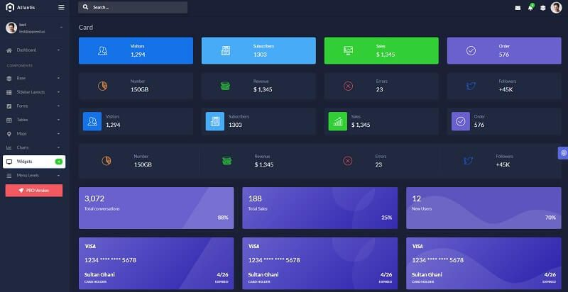 Admin dashboard widgets provided by a web application coded in Flask on top of Atlantis Lite design.