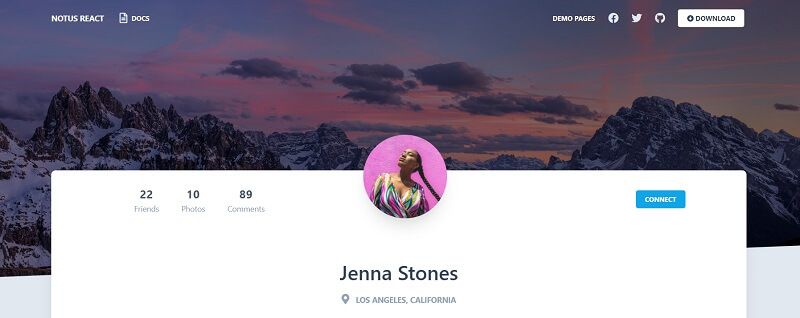 A modern profile page styled with Tailwind.