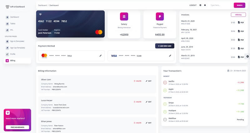 The sample billing provided by Soft UI Dashboard, a modern Bootstrap 5 design.