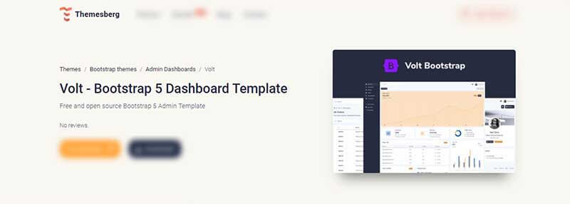 The cover of Volt Dashboard, a popular Bootstrap 5 design provided by Themesberg.