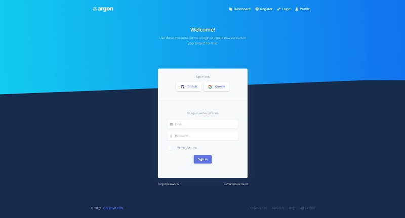 The Login page provided by Argon Design, an open-source React Dashboard Template crafted by Creative Tim.