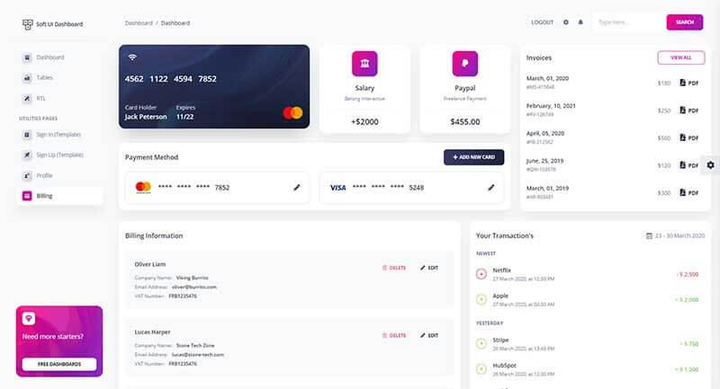 The billing page of Soft UI Dashboard that showcase some really nice widgets and components.