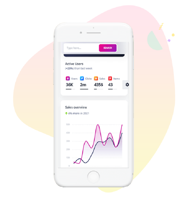 Soft UI Design with colorful charts and a search box inside a white phone frame.