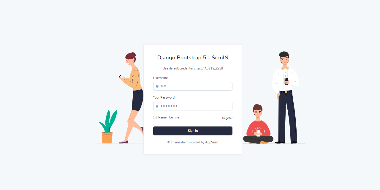 The login page with authentication form loaded by Django Volt Dashboard, an open-source project crafted by AppSeed.
