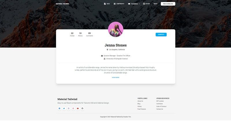 A simple landing page that displays a photo of an user and other user-related information - page provided by React Tailwind Dashboard, an open-source product crafted by Creative Tim agency.