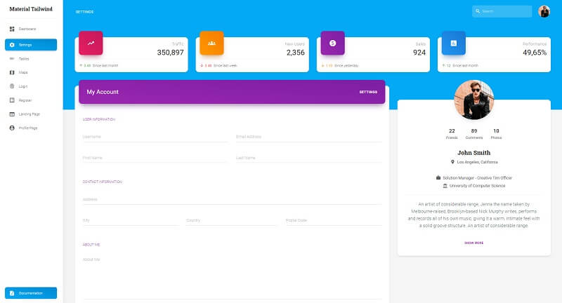 A modern user profile page with colorful elements, nice widgets and a form that displays the user information. The Page is provided by React Tailwind Dashboard, crafted and released for free by Creative-Tim.