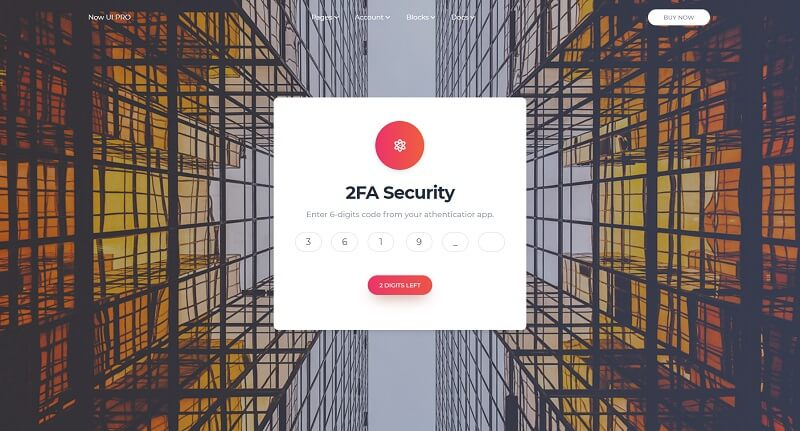 Now UI Design System PRO - 2Fa Page.