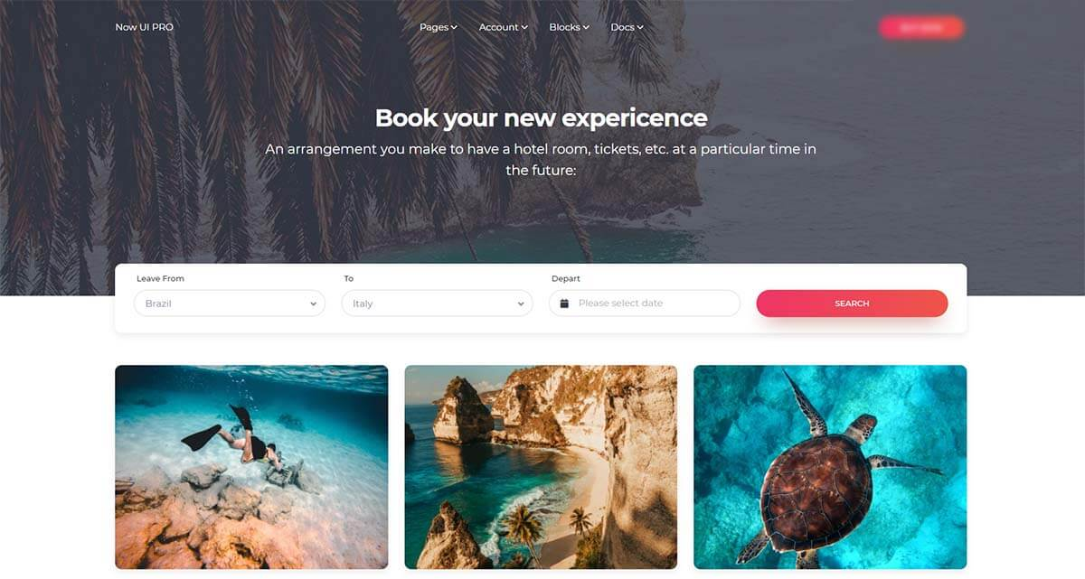A really nice and colorfull web page with cards and a search bos provided by Now UI Deisgn System, a premium Bootstrap 5 design from Creative-Tim Agency.
