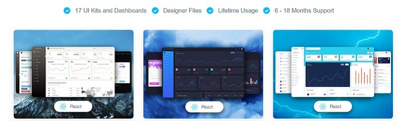 Image that shows three premium React Templates designed by Creative Tim: Paper React template, Black Dashboard and Argon Dashboard.