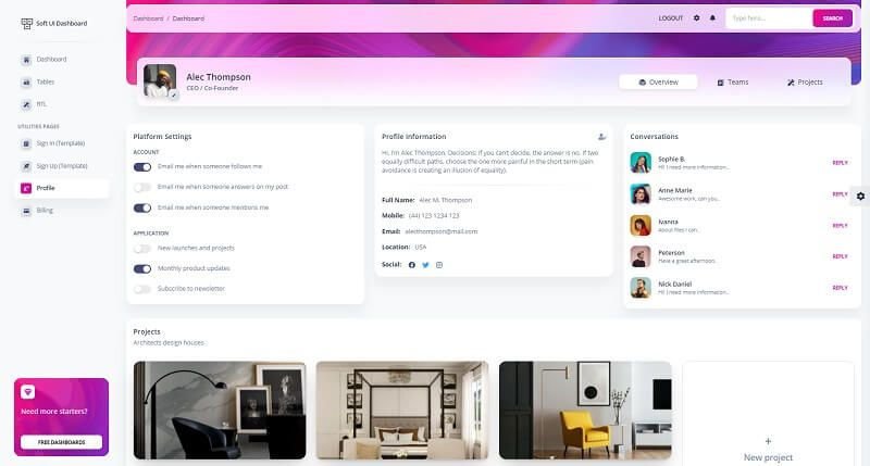 A colorful profile page with a left menu, a small user avatar on the top of the page and blog-like cards - all provided by Soft Ui Dashboard design.