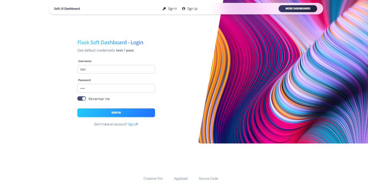 A colorful login page with a form on the left and multi-color random shape on the right.