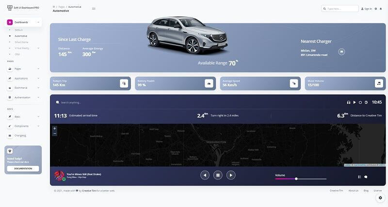 This page provided by Soft UI Dashboard PRO showcase an automotive landing page.