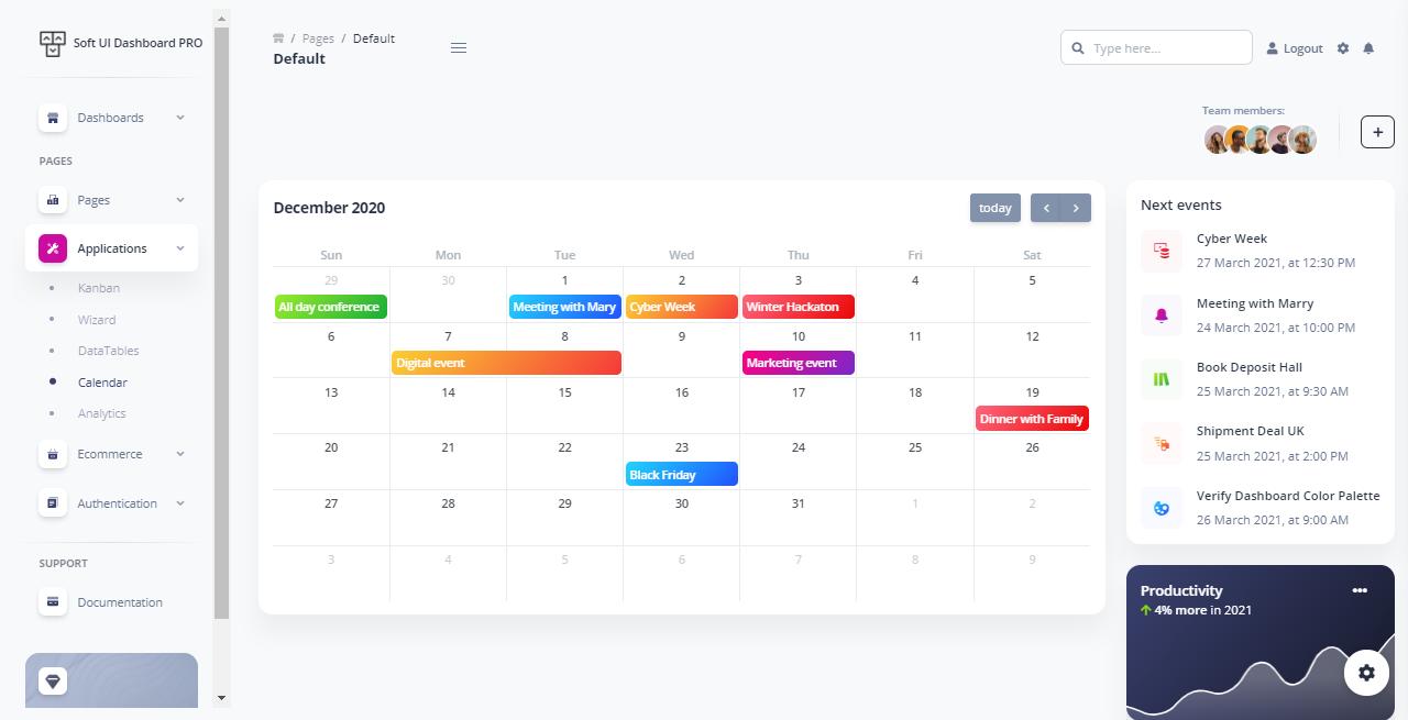 Soft UI Dashboard PRO - Calendar Page.