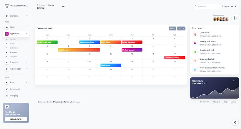 This page provided by Soft UI Dashboard PRO showcase a visual calendar page.