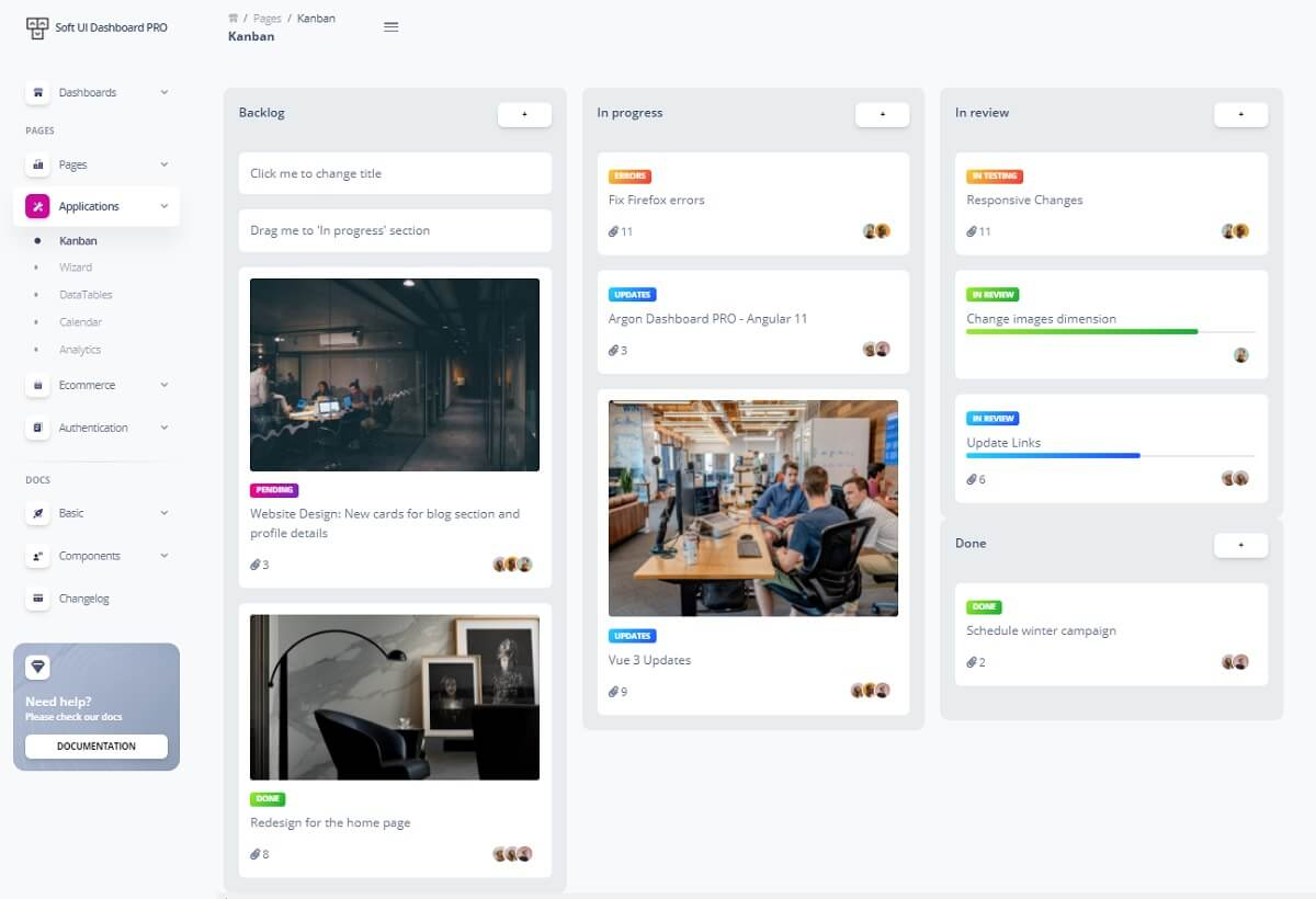 A nice Kanban Board with a gray left menu and beautiful cards organised on three columns, all provided by Soft UI Dashboard, the premium version.