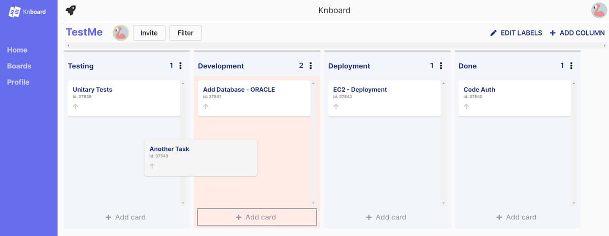 A colorful Kanban page with a blue left menu and for columns with multiple card on each columns.