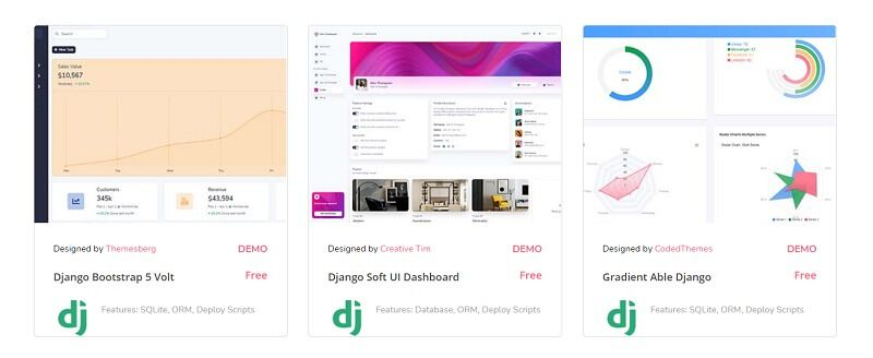 A colorful section with three product cards, all open-source dashboards provided by AppSeed.
