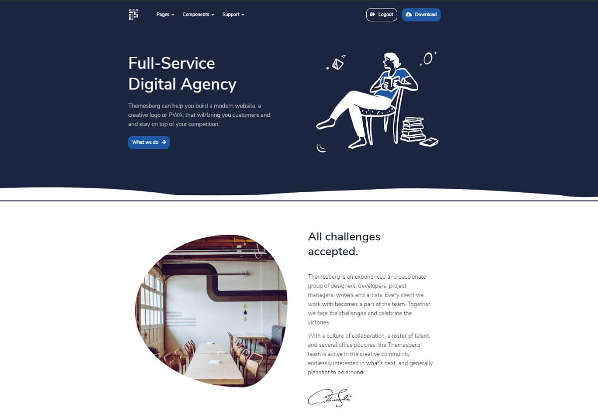 Flask Bootstrap Template - Digital Agency Page.