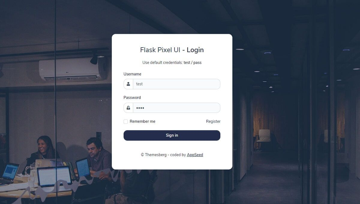 A modern web page with an office location in the background and a authentication form with username and password fields, all provided by Pixel Lite, an open-source Flask Bootstrap template.