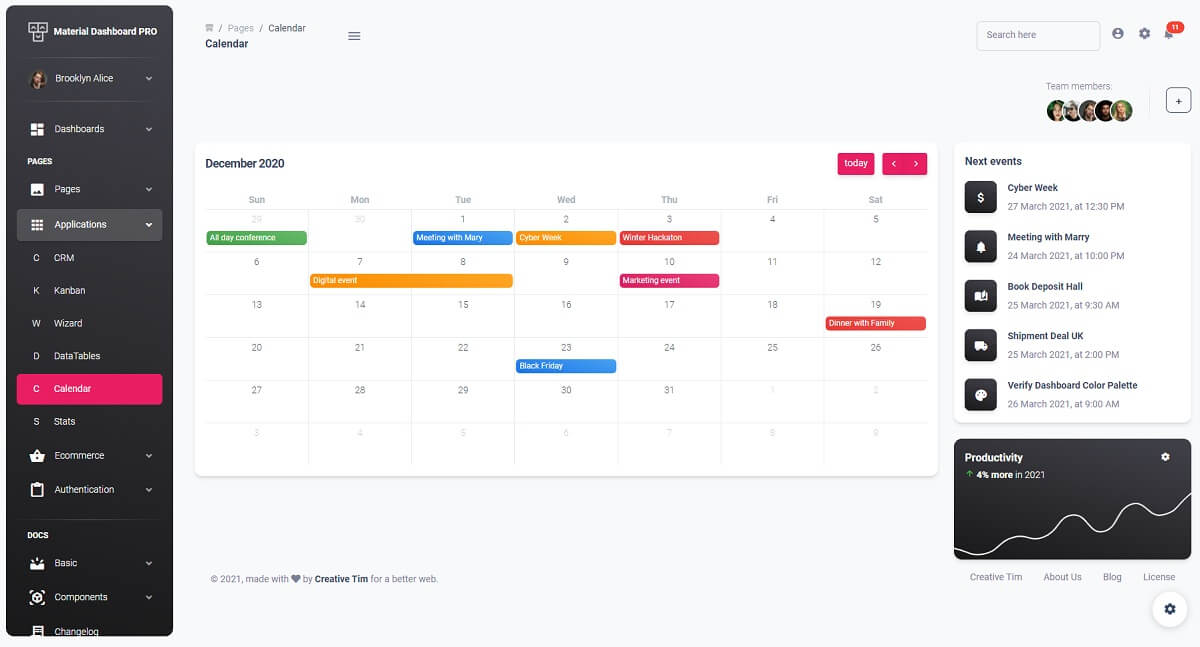 Material Dashboard PRO - Calendar Page.