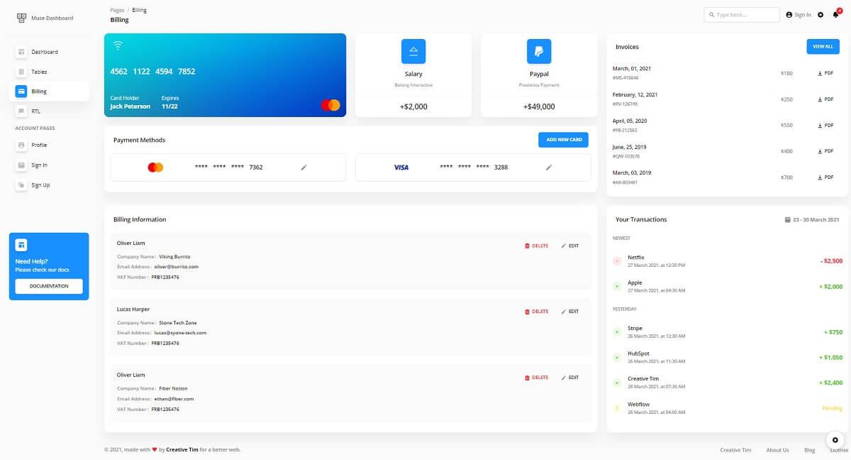 Muse Vue Ant Design Dashboard - Billing Page.
