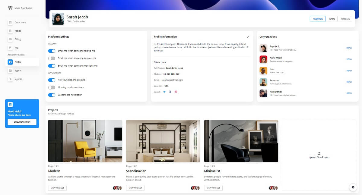 Muse Vue Ant Design Dashboard - User Page.