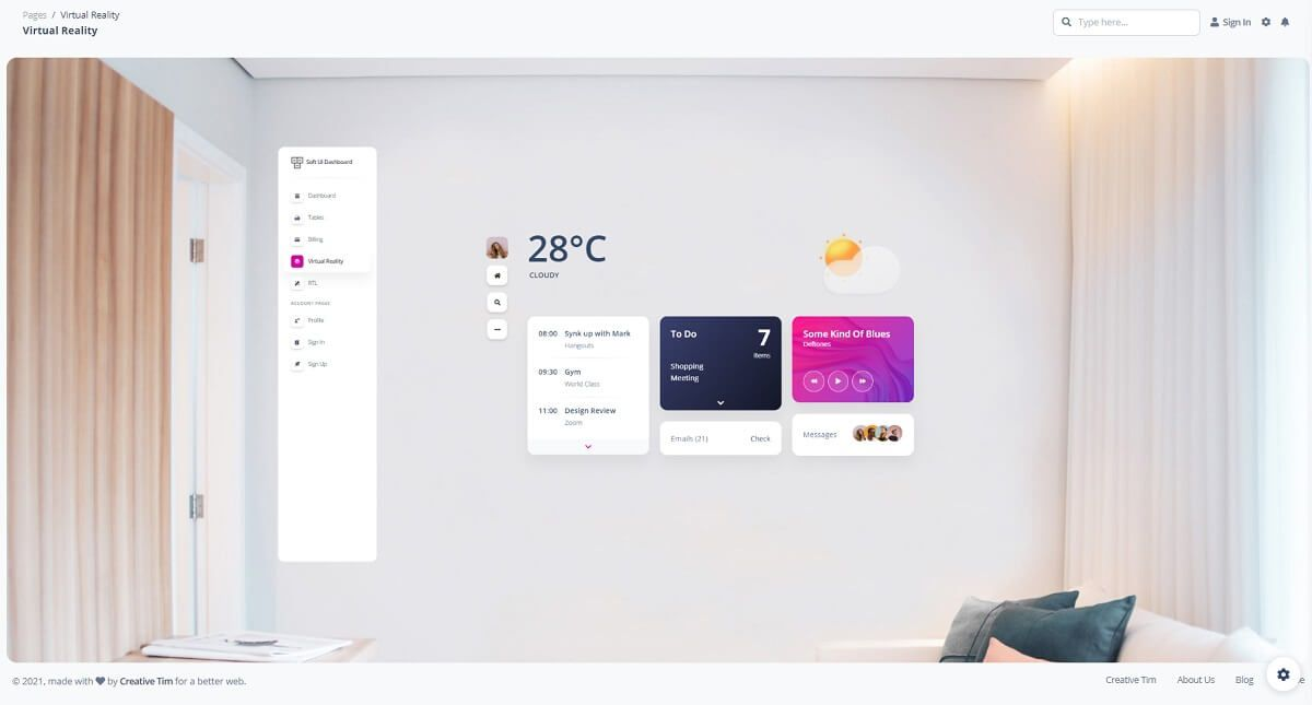 A futuristic 3d page with a simple yet stylish room in the background and a few widgets and a left menu in front, all provided by Soft UI, a modern dashboard design crafted by Creative-Tim.