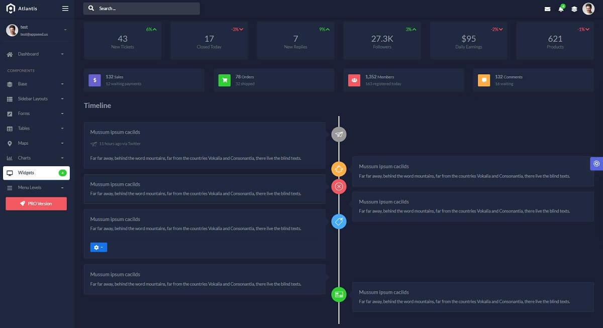 Free Admin Dashboard Flask Atlantis Dark - Timeline Widget.