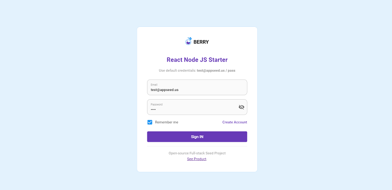 Berry React Full-stack - Login Page.