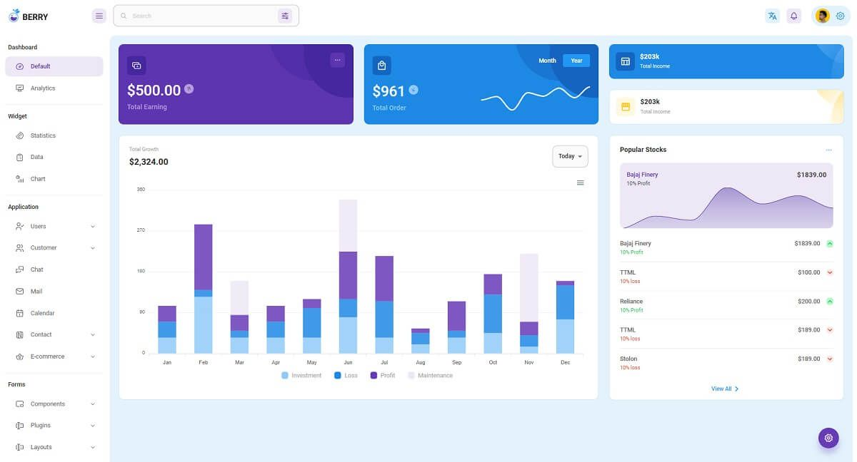 Berry is a Premium React Dashboard crafted by CodedThemes on top of Material-UI framework.