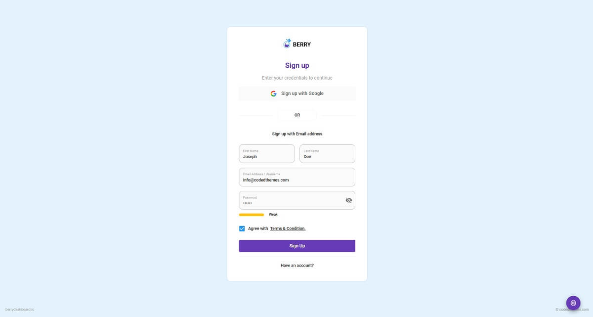 Login page of Berry React, open-source dashboard template crafted with React and Material-UI.