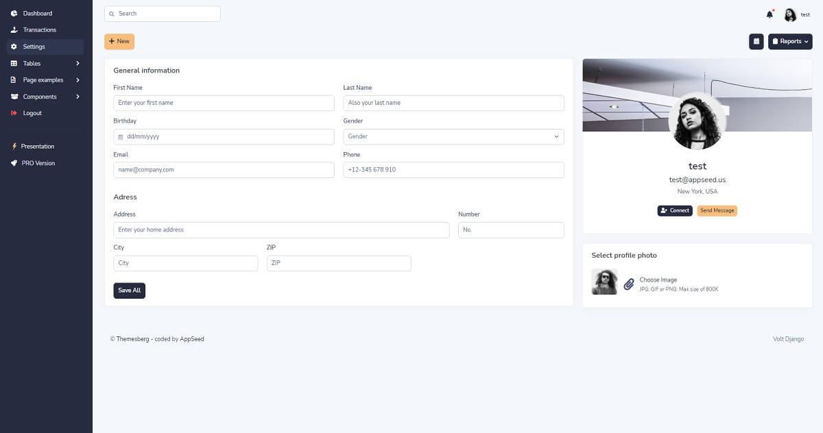 Open-source admin dashboard crafted with Django and Docker on top of Volt Dashboard - User Profile Page.
