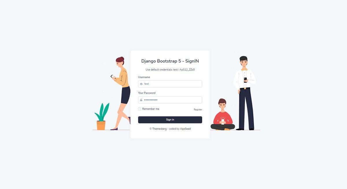 Django Admin Template Volt - Login Page.