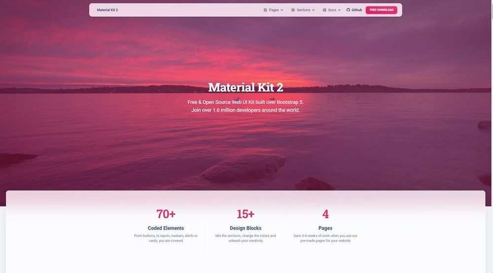 Material Kit 2 - Open-source Bootstrap 5 Design crafted by Creative-Tim.