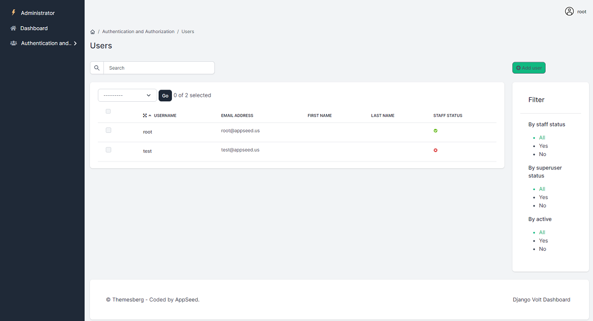 Django Admin Template Volt - Users page.