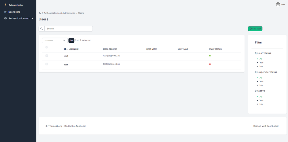 Django Admin Template Volt - Users Page styled with Volt Bootstrap 5 design.