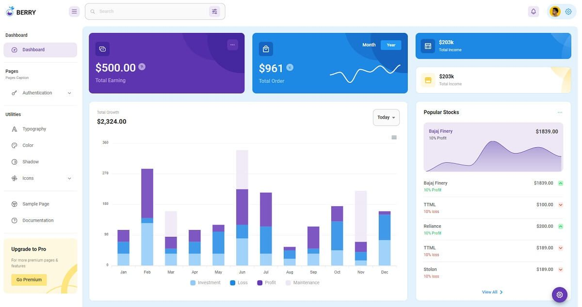 Material Dashboard Berry - Open-source dashboard template.