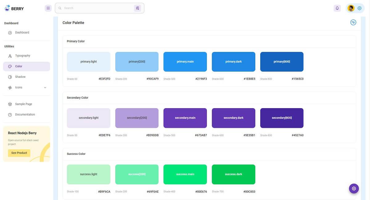 Django React Berry - Colors Page